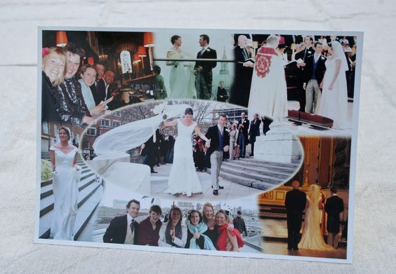 Send a card with a personal touch. Add your own photos in a collage like this Wedding 'Thank you' card. Perfect also for special birthdays and events.