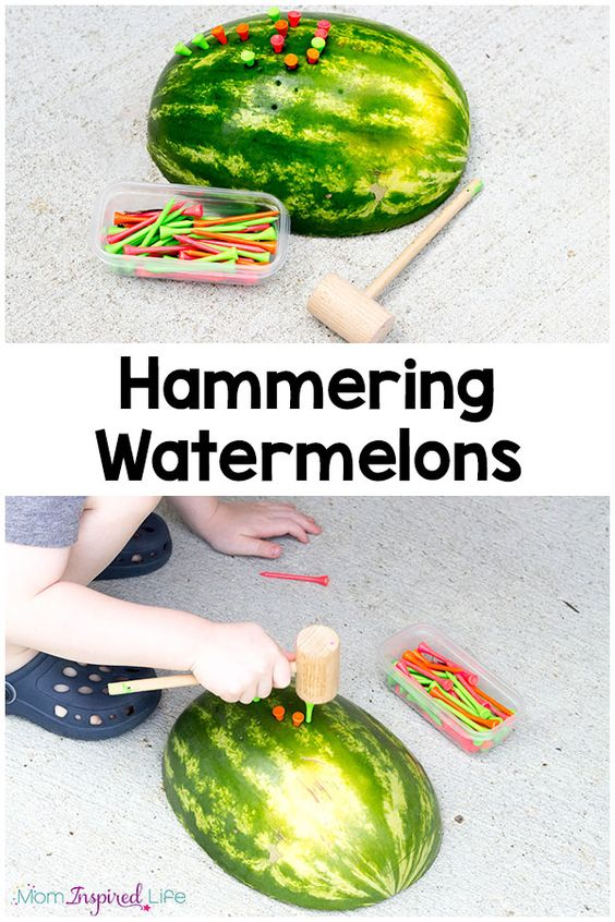 Hammering watermelons is a fun way to develop fine motor skills this summer. My son loved this hammering activity!: