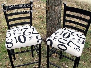 bar stool decorated with numbers (with tutorial)