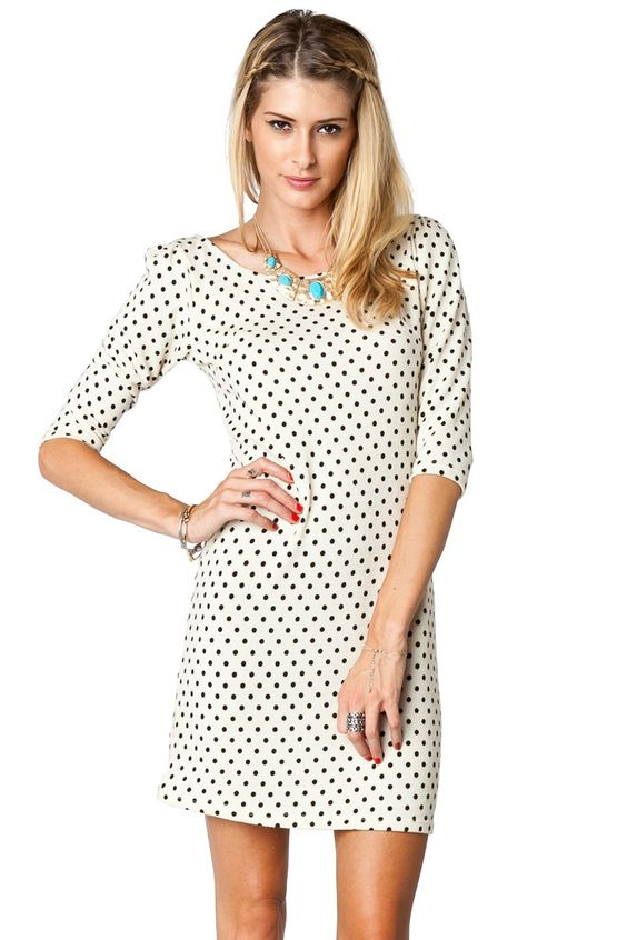 ShopSosie Style : Hilltop Polka Dot Dress in Ivory