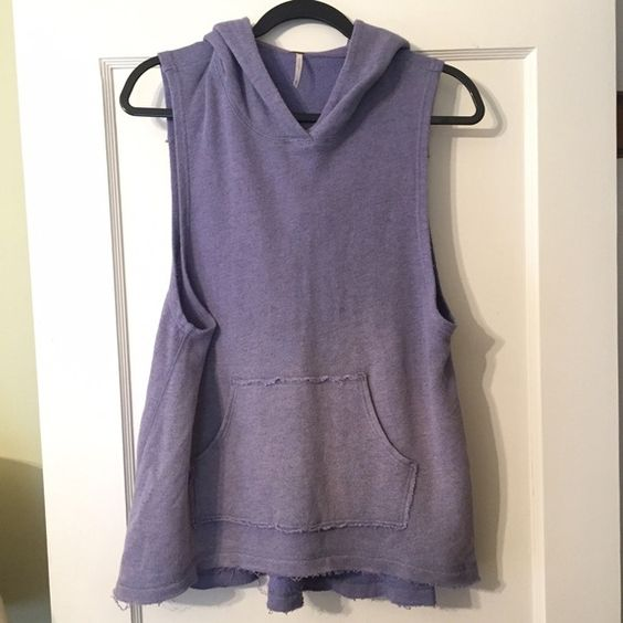 Free People cotton sweatshirt Vest Darling, long ombré hooded vest. Gently worn once. New condition, slightly distressed fabric. Free People Tops Sweatshirts & Hoodies