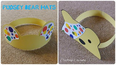 craftingcherubsblog | Pudsey Bear Hat Crafts. Children In Need Craft. Toddler Craft. Bear Craft. Pudsey Bear Craft.