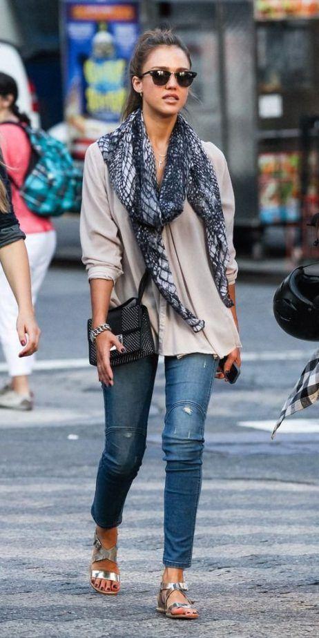 Jessica Alba Scarf 2017 Street Style