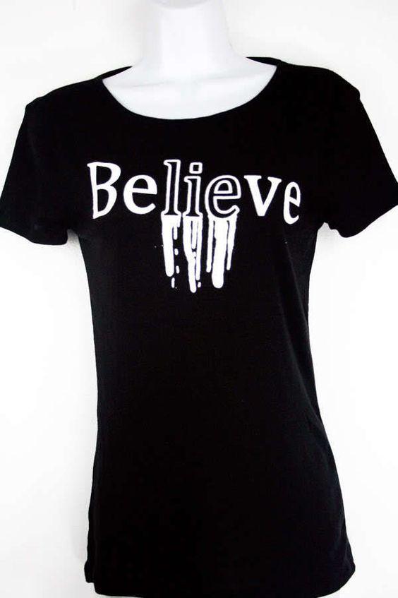Pastel goth Women Junior fashion Black T Shirt Believe Grunge urban rock trend #InControlClothing #GraphicTee