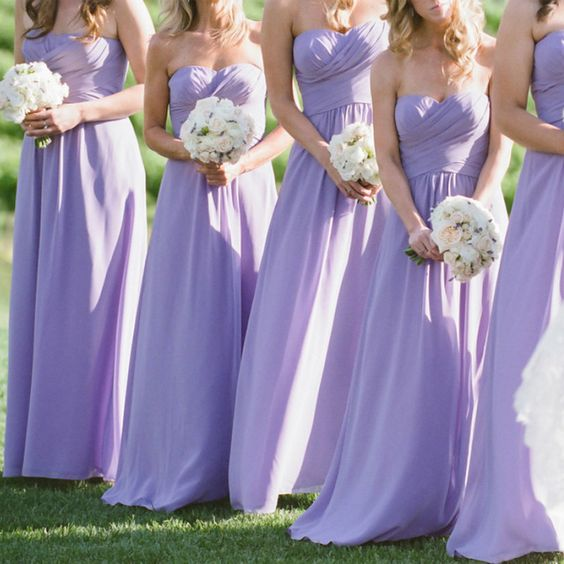 Long Lavender Bridesmaid Dresses Sweetheart Strapless A Line Bridesmaid Dress