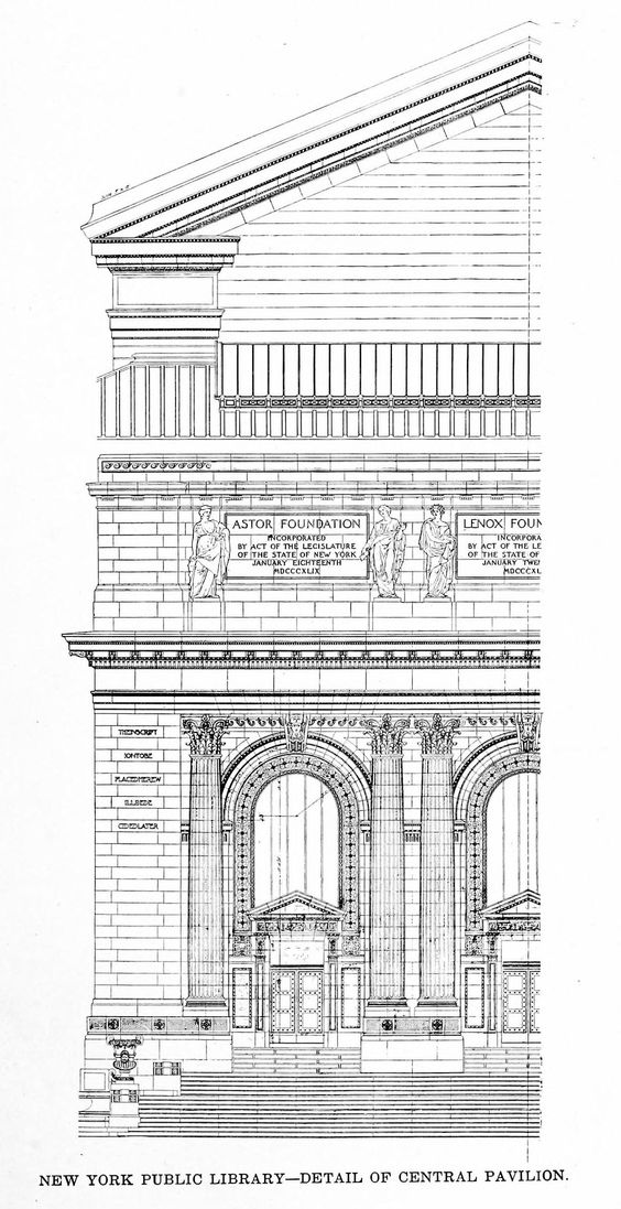 Detail of the central pavilion of Carrère & Hastings' New York Public Library, New York City