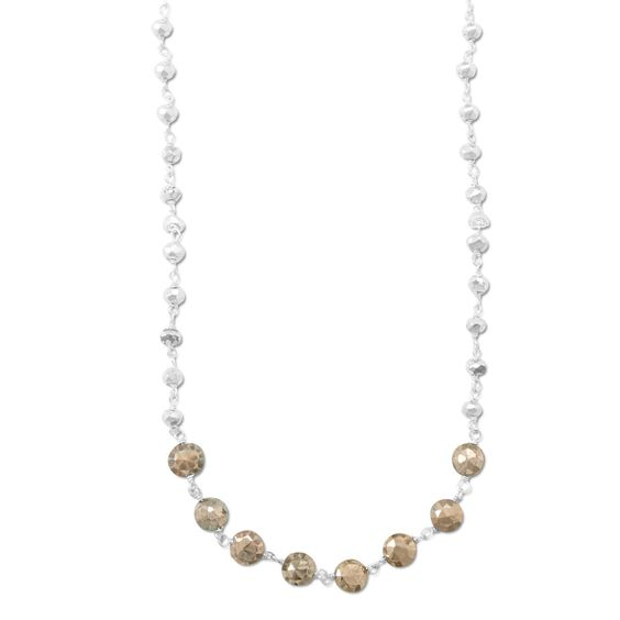 """16"""" + 1.5"""" Two Tone Pyrite Bead Necklace"""