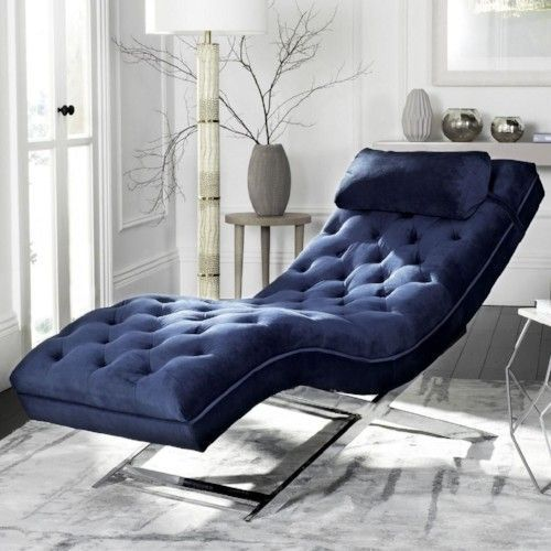 Best Pricing Free Shipping High Quality Indoor Chaise Lounge Chair Sofa Navy Blue Living Room Modern Chaise Lounge Modern Lounge Chairs Blue Chairs Living Room