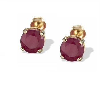 18k Gold Stud Earring Natural Ruby Round Faceted Red Color Top Quality Gold Stud Earring