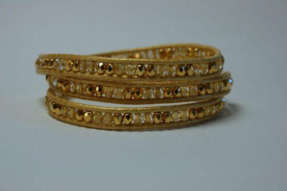 Gold Triple Wrap Bracelet by teasedesigns on Etsy, $41.00