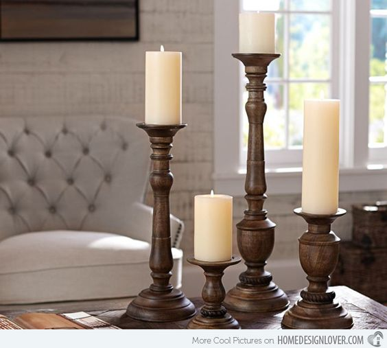 Traditional candle centerpiece ideas wood