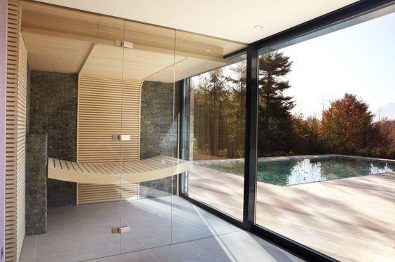 Minimalistische puristische Sauna mit Glas Sauna Pinterest - schlichtes sauna design holz seeblick