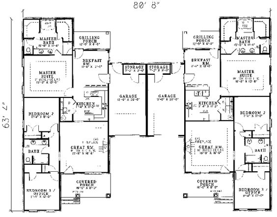 28 Multi Family Compound House Plans Multi Family: two family floor plans