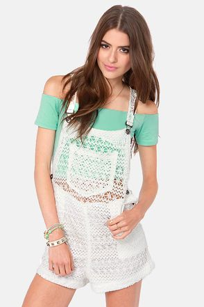 No Way Crochet Ivory Overalls | Pewter, Juniors clothing online ...