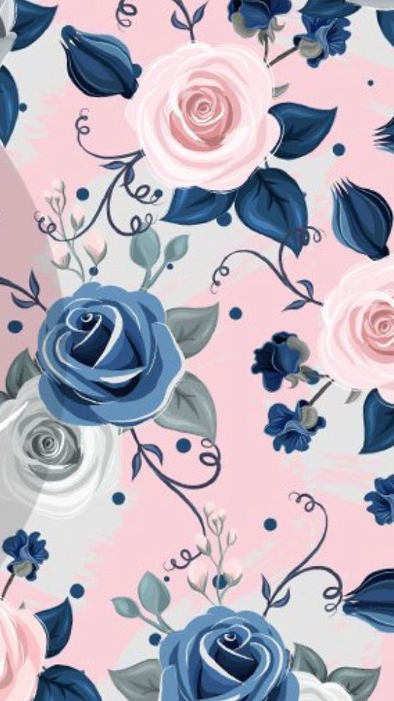 Wallpaper By Artist Unknown Floral Wallpaper Flower Wallpaper Floral Pattern Wallpaper Blue floral wallpaper iphone