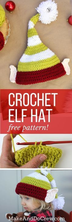 Free crochet elf hat pattern with ears! Make one for each member of the family. Perfect Christmas photo prop idea. Free pattern sizes include 0-3 months (newborn), 3-6 months (baby), 6-12 months, toddler/preschooler, child and adult. Click to see full pattern. | http://MakeAndDoCrew.com: