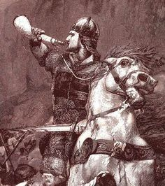 I chose this later illustration of Roland because of the emphasis on his warhorse, Veillantif (vigilant). Horses in the song of Roland serve to indicate an aspect of their rider's personality to the reader (for example, Roland, as the commander of the rear-guard, is vigilant to a fault). We see similar practices in modern fantasy literature today. -Elijah Andes: