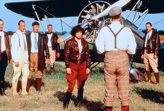 Valerie Bertinelli as Pancho Barnes (TV movie, 1988) | Bright red jodhpurs and riding boots. #aviatrix