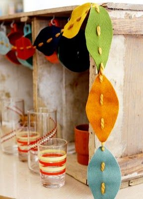 tangled happy: Yarn Crafting With Kids: Fall Leaves Garland