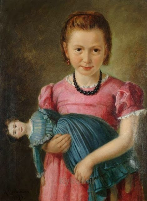 H. Oestreicher (NN) «A young girl holding a doll» 1873