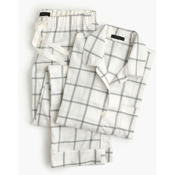 J.Crew Windowpane Plaid Flannel Pajama Set ($125) ❤ liked on Polyvore featuring intimates, sleepwear, pajamas, j.crew, long sleeve sleepwear, holiday pjs, holiday sleepwear and plaid flannel pajamas