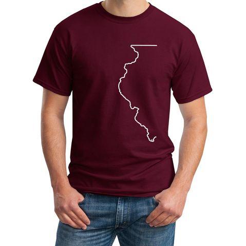 Half Illinois State Outline Design Tshirt
