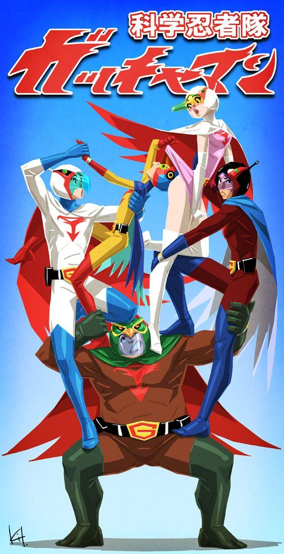 組体操のように重なる科学忍者隊ガッチャマンのかっこいい画像。