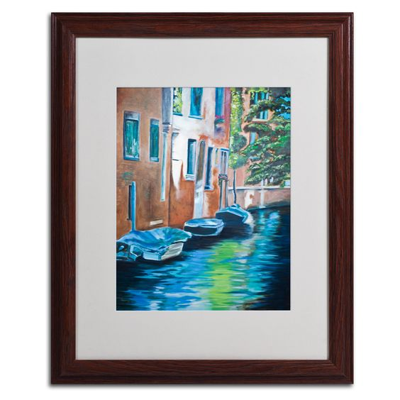 Venice Boats by Judy Harris Matted Framed Painting Print