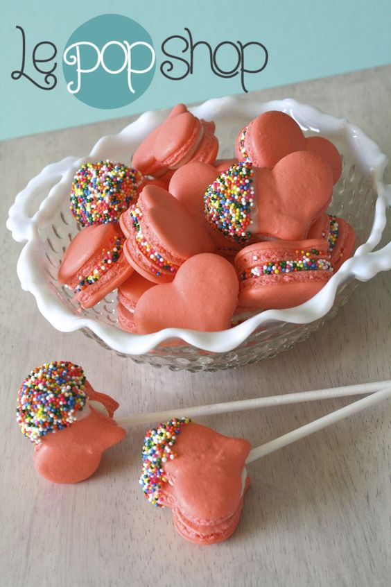 Sweetheart Macaron Pops original design by Le Pop Shop perfect for any party, engagement, party favor