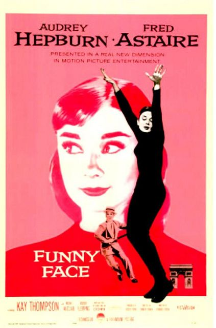 """""""Funny Face"""" Audrey Hepburn movie ad --in case you wonder where the dog's name came from ... we think:"""
