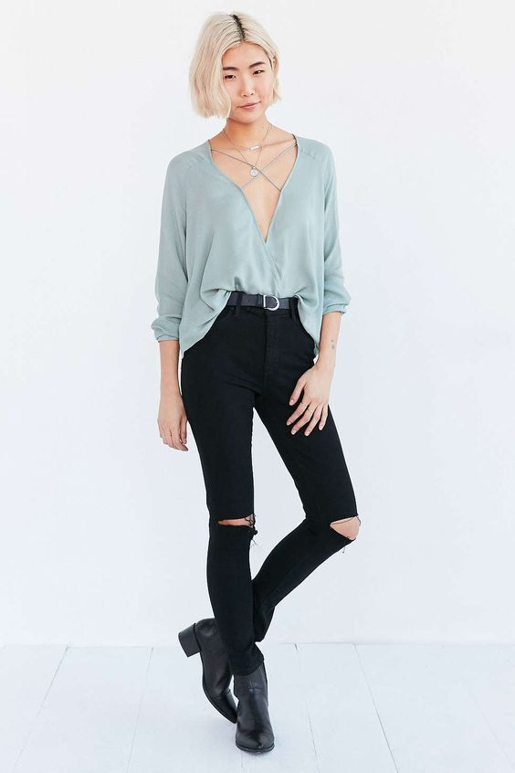 Silence + Noise Mayfair Plunge Surplice Top #UrbanOutfitters