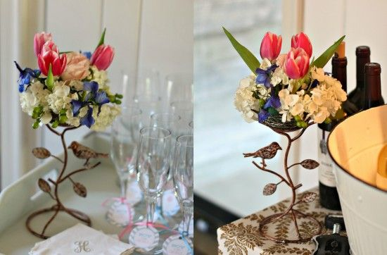 Pink and blue flower arrangements for our gender reveal party.