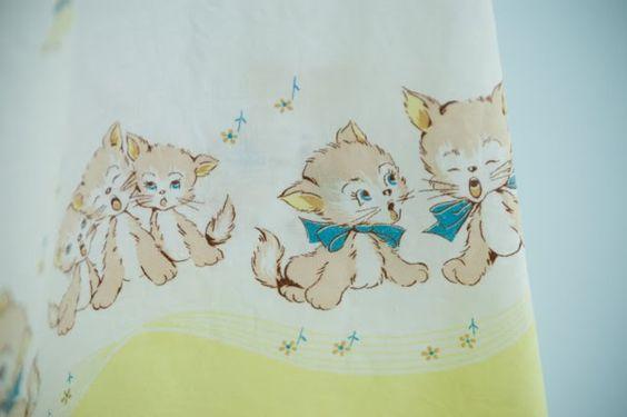 vtg kitten fabric