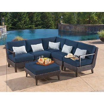 Melrose 6 Piece Sectional Patio Furniture Sets Costco Patio Furniture Teak Outdoor Furniture