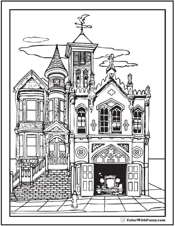 Coloring Adult Coloring Pages And House On Pinterest