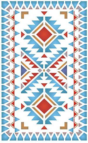 Native American Border Designs | North Plains Border Stencil stencilled with the Navajo Chevron Border ...