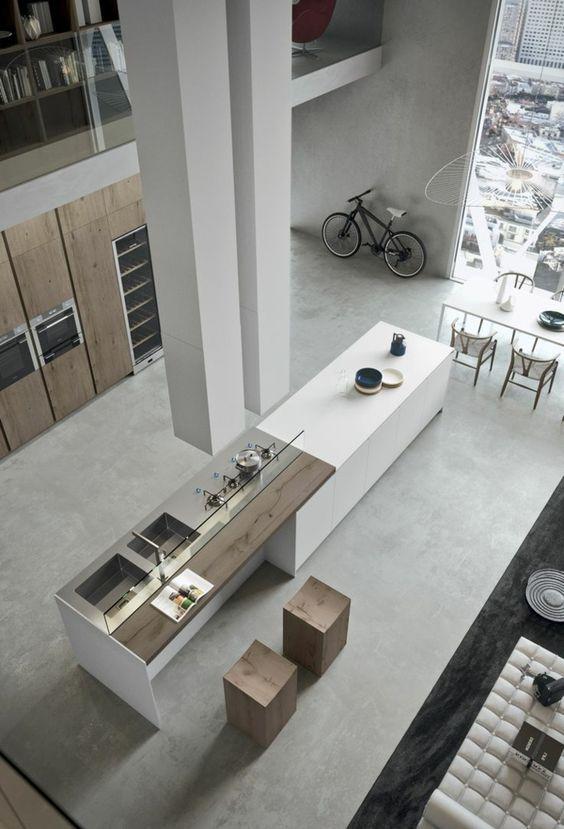 moderne küchen minimalistisch geräumig zeitgenössisch | Küche ... | {Moderne küchen 92}