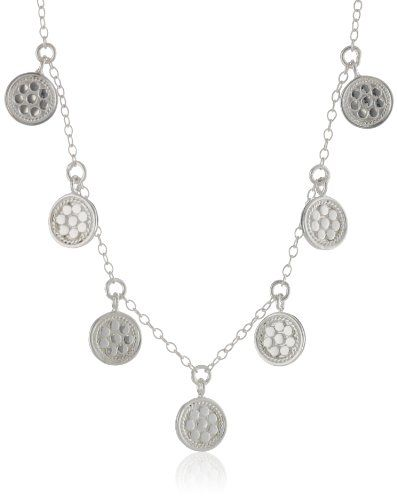 Anna Beck Designs %22Gili%22 Sterling Silver Mini Wire Rimmed Disk Charm Necklace%2C 18%22
