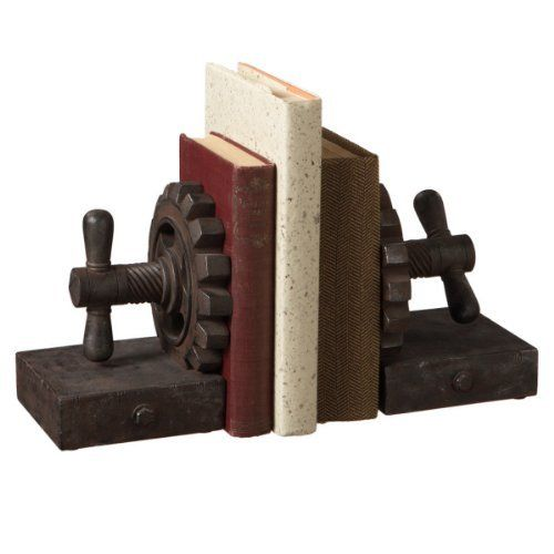 """9"""" Contemporary Industrial Style Rusted Gear Bookend Pair by CC Home Furnishings, http://www.amazon.com/dp/B00ELT2ZXQ/ref=cm_sw_r_pi_dp_yt5rsb1CVE8BH"""