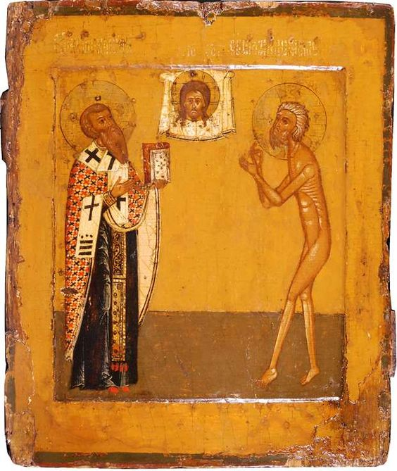 Russian icon of St. Basil the Great and St. Basil 'the Fool,' 17th century