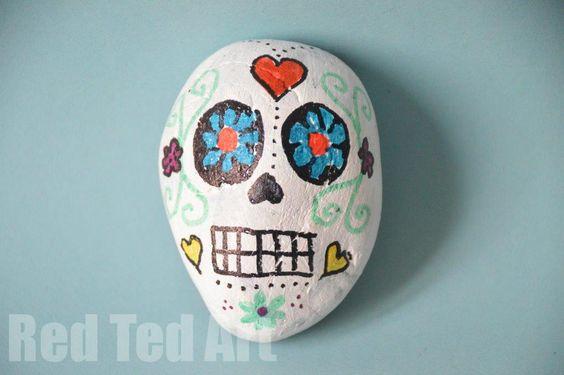 Day of the Dead Crafts: Sugar Skull Rocks