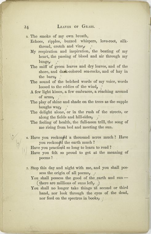 excerpt from Walt Whitman's Leaves of Grass