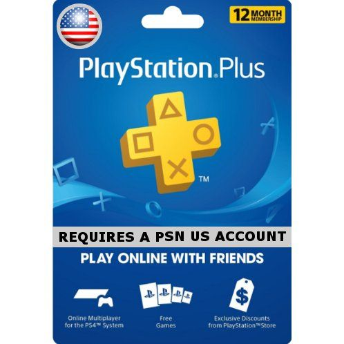Psn Card 12 Month Playstation Plus Us Digital Playstation Xbox Gift Card Ps Plus