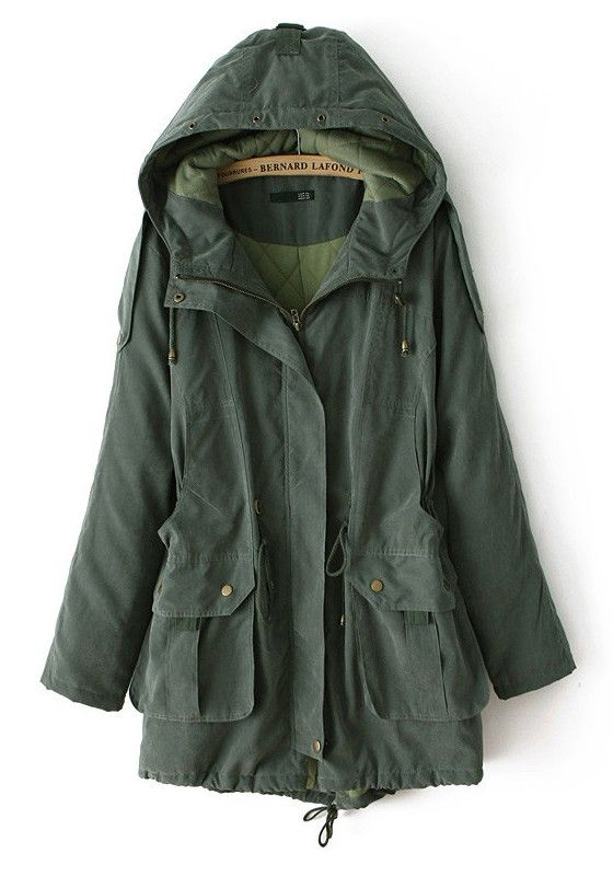 Army Green Drawstring Pockets Synthetic Fiber Padded Coat SO CUTE!! I was an army jacket so bad!