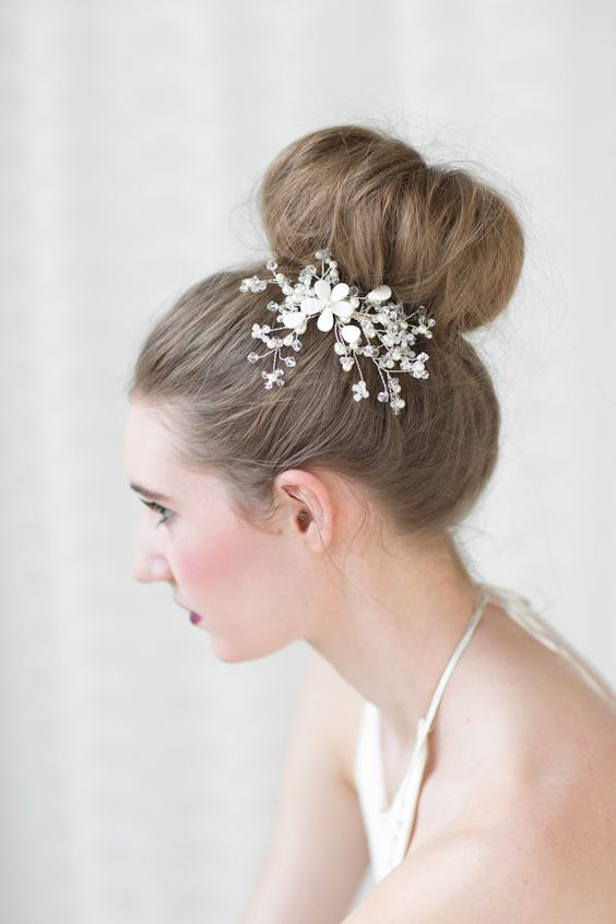 Beach Wedding Hair Comb  This handcrafted hair comb is perfect for a beach wedding. It has mother-of-pearl flowers with crystal and pearl