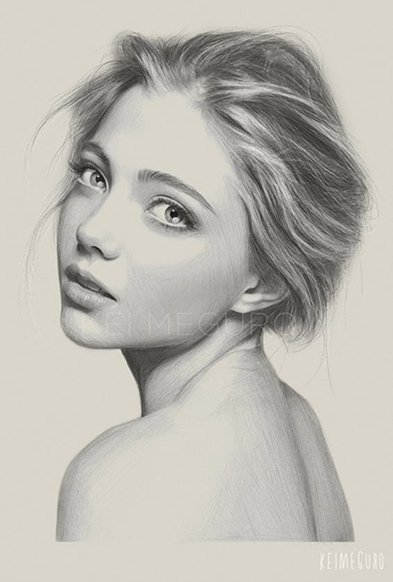 """""""Girl Without a Pearl Earring"""" - Kei Meguro {contemporary figurative realism artist female head shoulder woman face portrait pencil drawing #loveart}"""