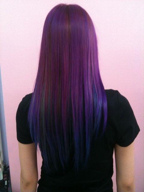 purple hair with some blue green streaks: Hair Colors, Colored Hair, Hair Styles, Haircolor, Blue Ombre, Blue Hair, Hair Beauty, Hairstyle, Hair Colour