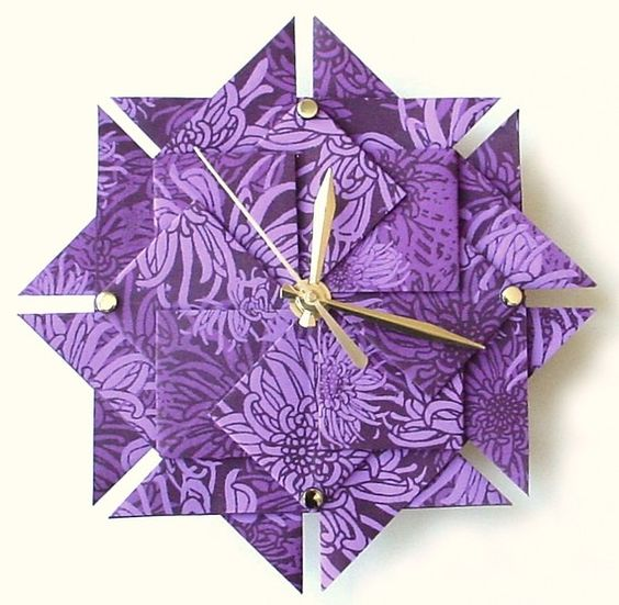 Purple Clock Floral Origami by Giftedpapers on Etsy