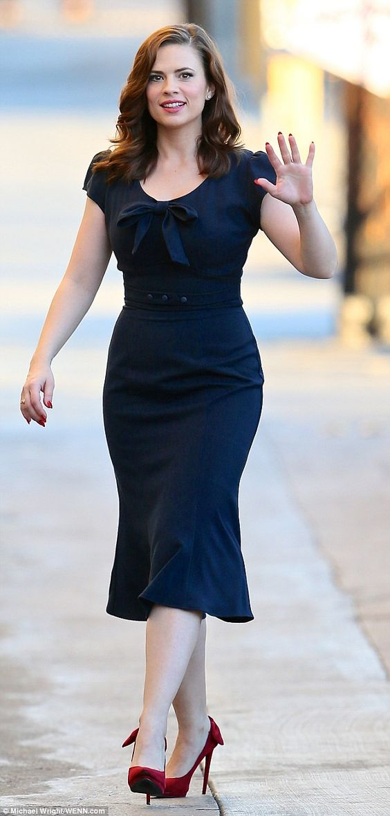 Vintage glamour: Hayley Atwell proved to be a classic beauty on Tuesday afternoon in Los A...