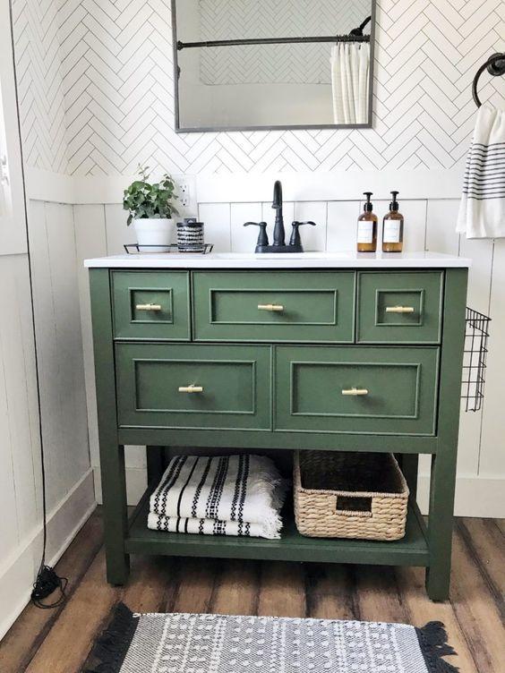 Y From Hudson Farmhouse With A Bathroom Makeover Farmhouse Bathroom Makeover On A Budget Tour Ou Bathroom Cabinets Designs Bathroom Refresh Bathroom Interior